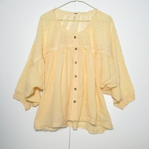 Free People Two To Tango Floral Eyelet Blouse L